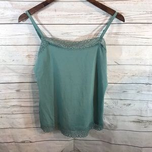 🍍4/$20 Ann Taylor lace lined camisole size M teal